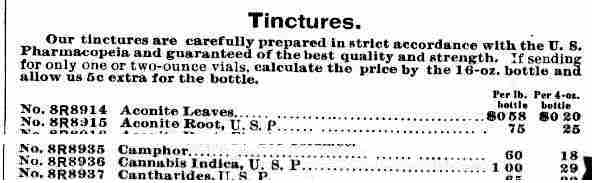 A list of tinctures sold by Sears in a 1902 catalog, including cannabis indica, which is high in THC.
