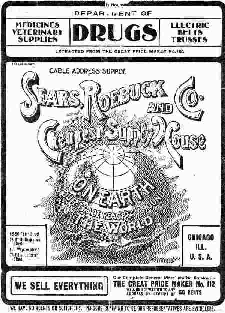 Cover of Sears, Roebuck & Co.'s Department of Drugs catalog in the early 20th century, which sold products including medicinal cannabis.